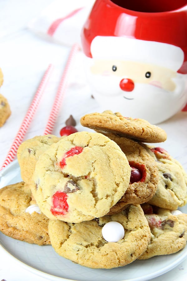 Peppermint Chocolate Chip Cookies on white plate