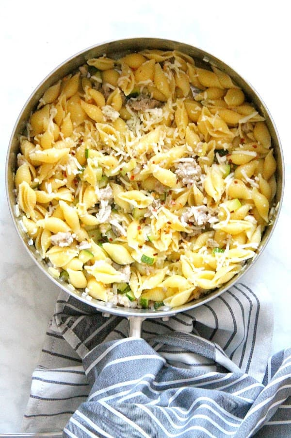 Spicy Sausage Zucchini Pasta in pan