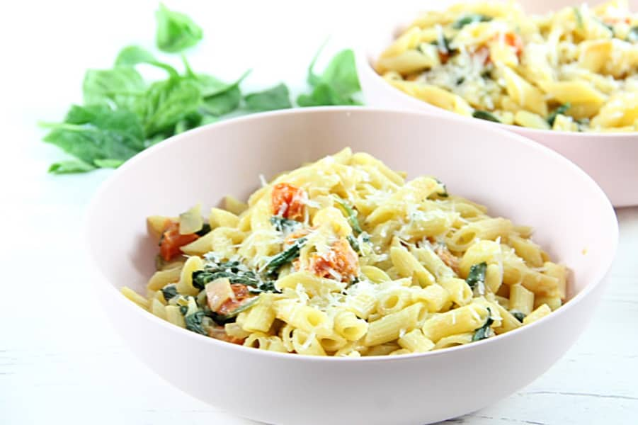 Creamy Tomato Spinach Pasta in bowl
