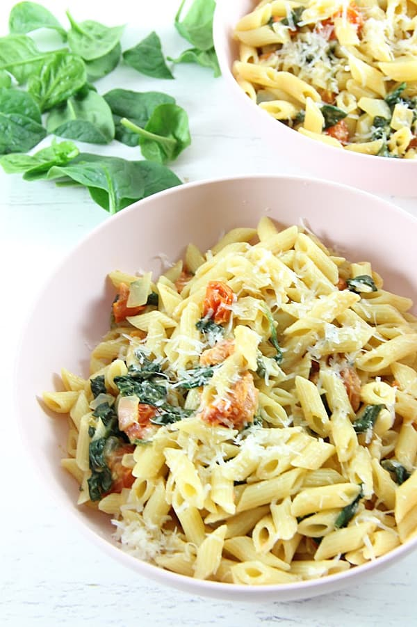 Creamy Tomato Spinach Pasta with spinach