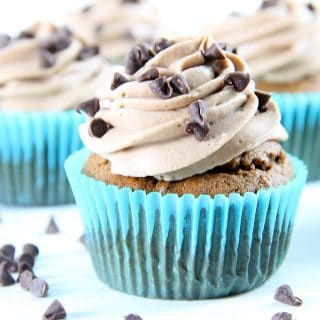 Double Chocolate Cupcakes in blue liners