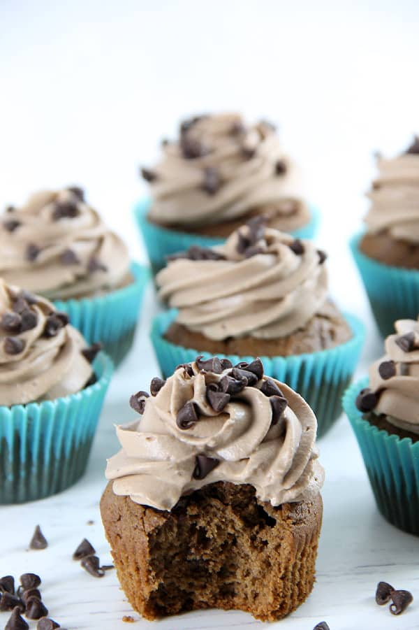 Double Chocolate Cupcakes on white background
