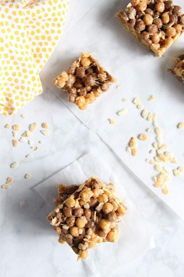 Chocolate Peanut Butter Marshmallow Treats with cereal