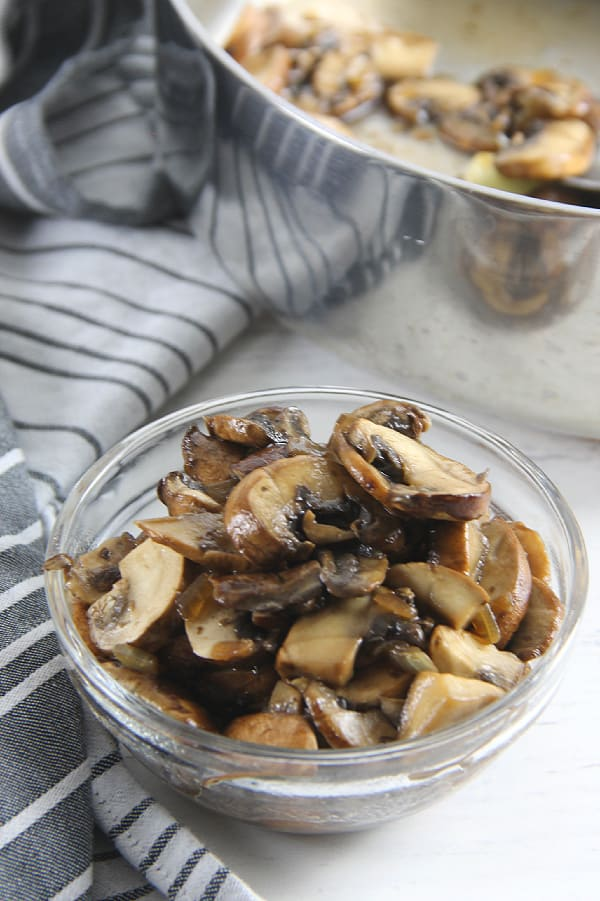 How To Sauté Mushrooms in glass bowl