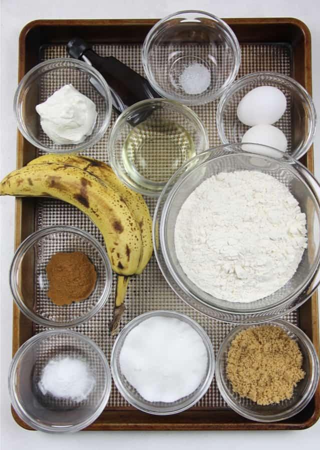 Classic Banana Bread ingredients