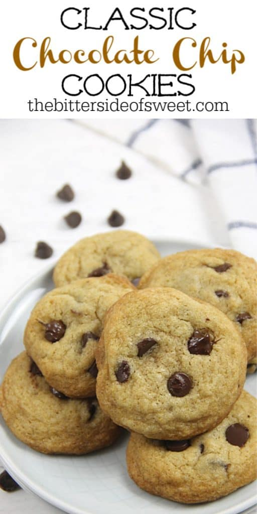 Classic Chocolate Chip Cookies on white plate