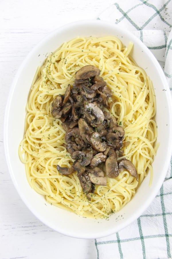 Mushroom Pasta in white dish