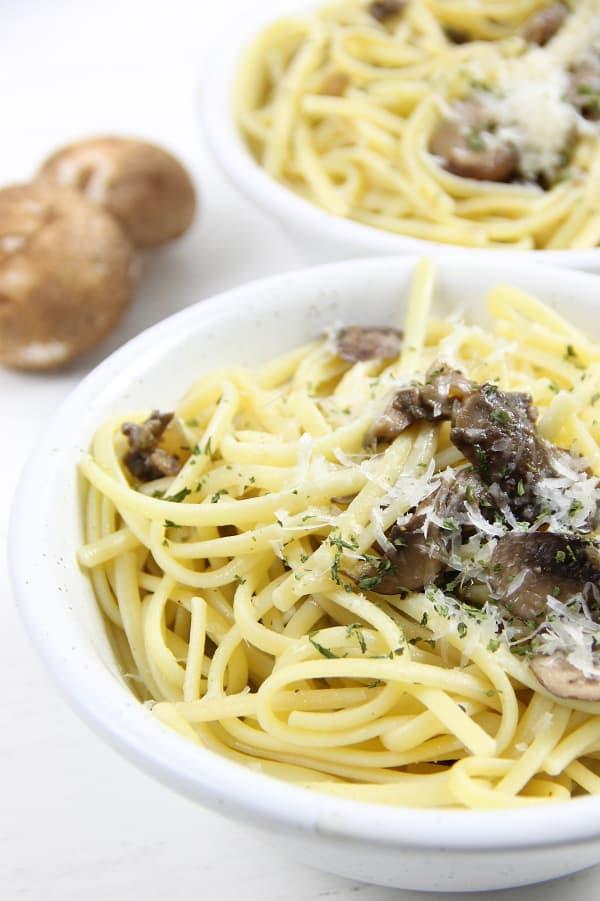 Mushroom Pasta in white bowl