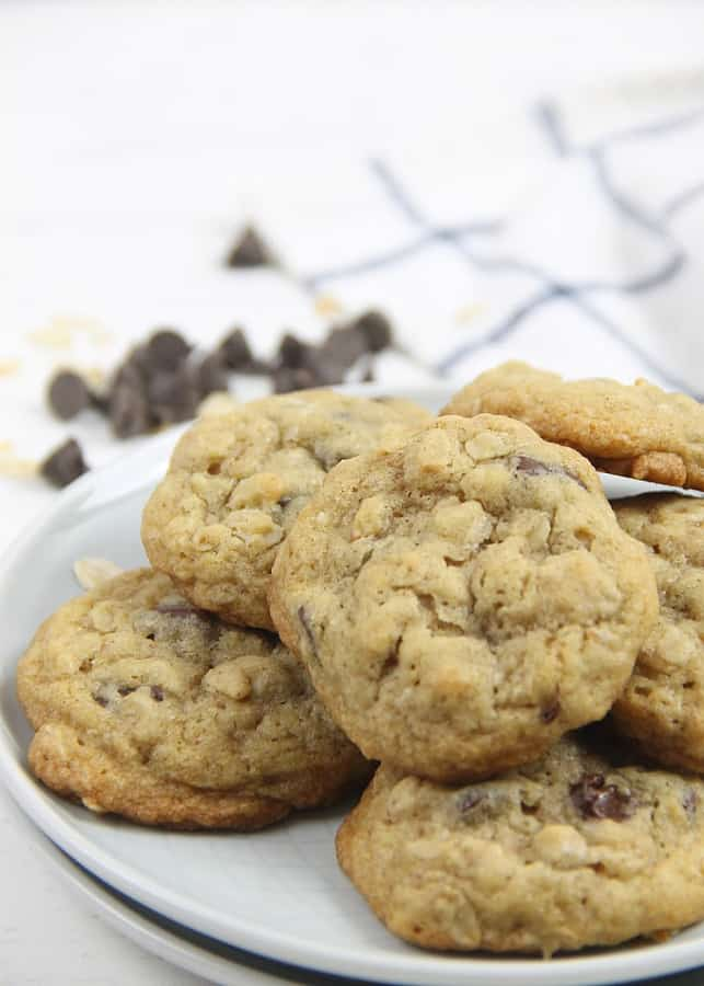 Oatmeal Chocolate Chip Cookies on white plate