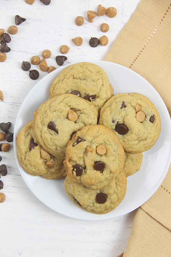Peanut Butter Chocolate Chip Cookies on white plate
