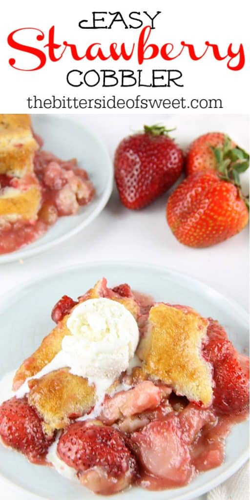 Strawberry Cobbler on white plate