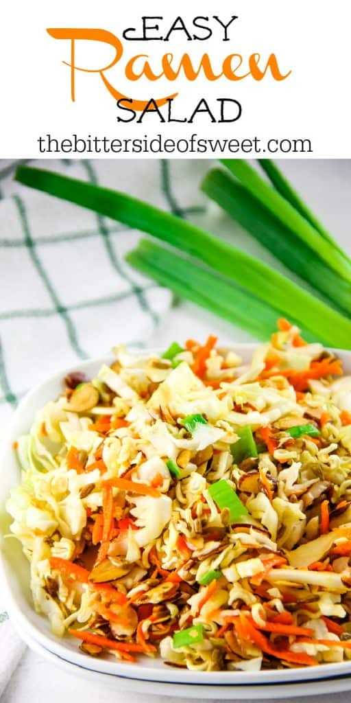 Ramen Salad on white plate with green onions in background