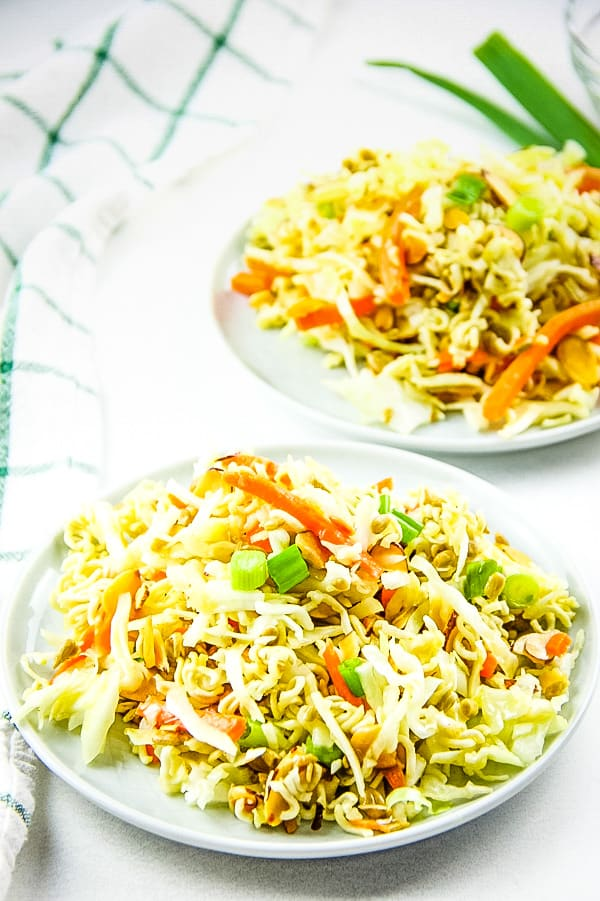 Ramen Salad on round plate with green and white napkin