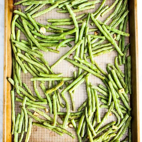Sheet Pan Roasted Green Beans cooked on sheet pan