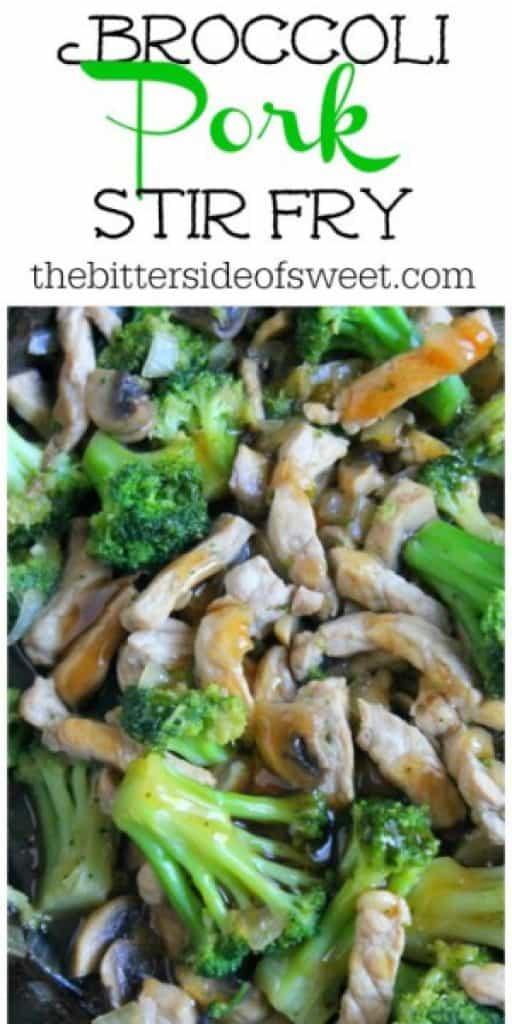Broccoli Pork Stir Fry close up with broccoli, mushrooms and pork.