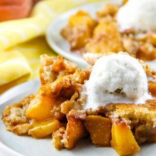 Peach Cobbler on white plate