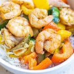Garlic Thyme Shrimp and Veggies in bowl with rice