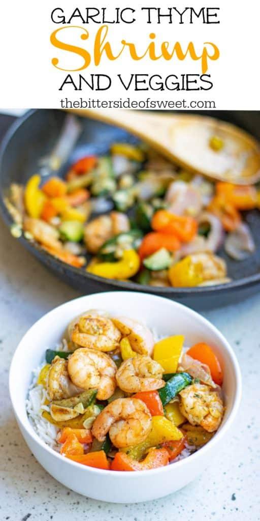 Garlic Thyme Shrimp and Veggies in white bowl on grey background