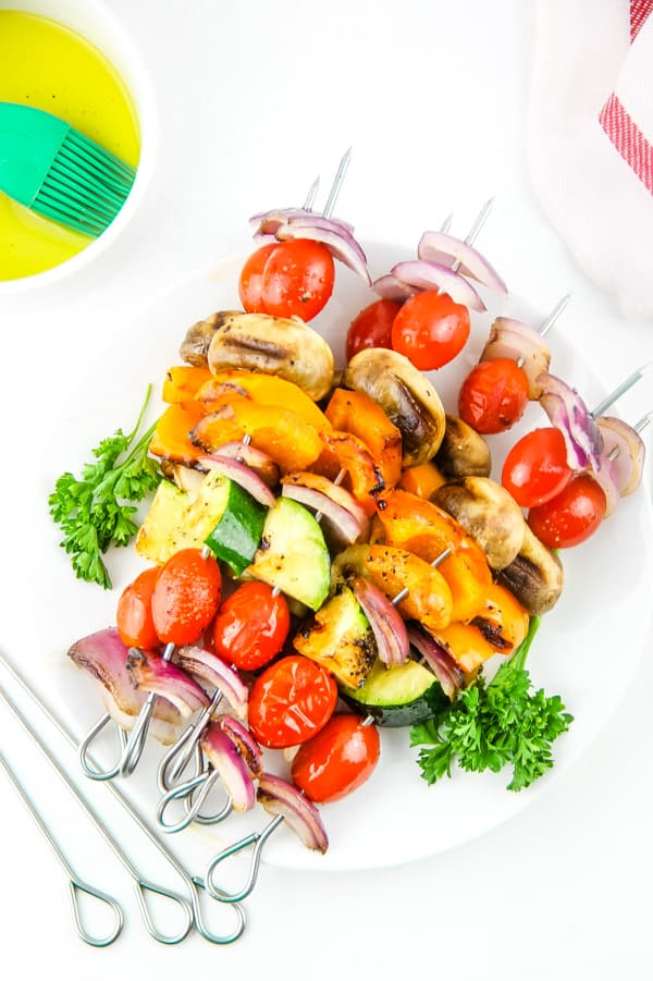 Grilled Vegetable Skewers on white plate