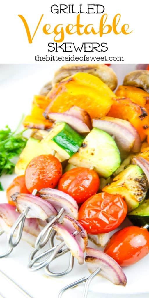 Grilled Vegetable Skewers on metal skewers