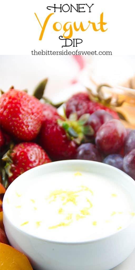 Honey Yogurt Dip in white bowl topped with lemon zest.