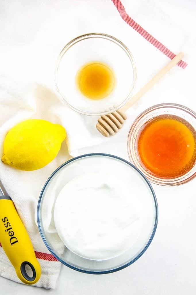 Honey Yogurt Dip ingredients in bowls