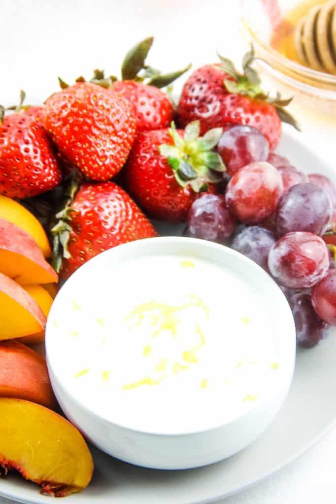 Honey Yogurt Dip on plate with fruit