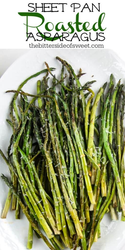 Sheet Pan Roasted Asparagus close up on white plater