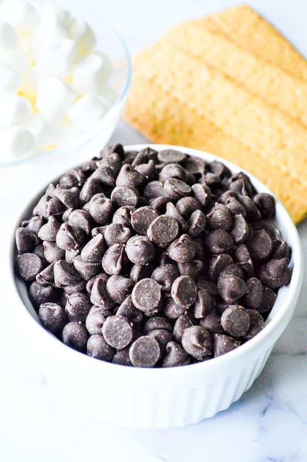 Chocolate chips in bowl