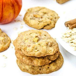 Apple Cinnamon Oatmeal Cookies on white background