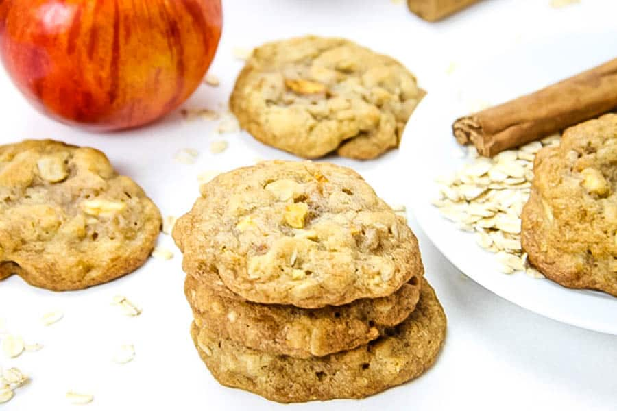 Apple Cinnamon Oatmeal Cookies on white background