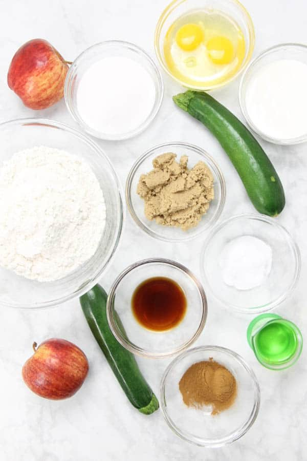 Apple Zucchini Bread ingredients in glass bowls