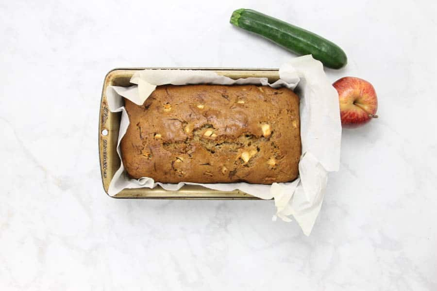 Apple Zucchini Bread in pan after cooked