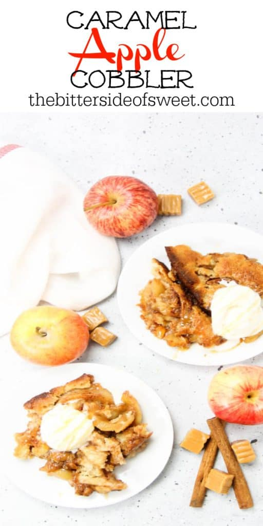 Caramel Apple Cobbler on white plates surrounded by cinnamon sticks and apples