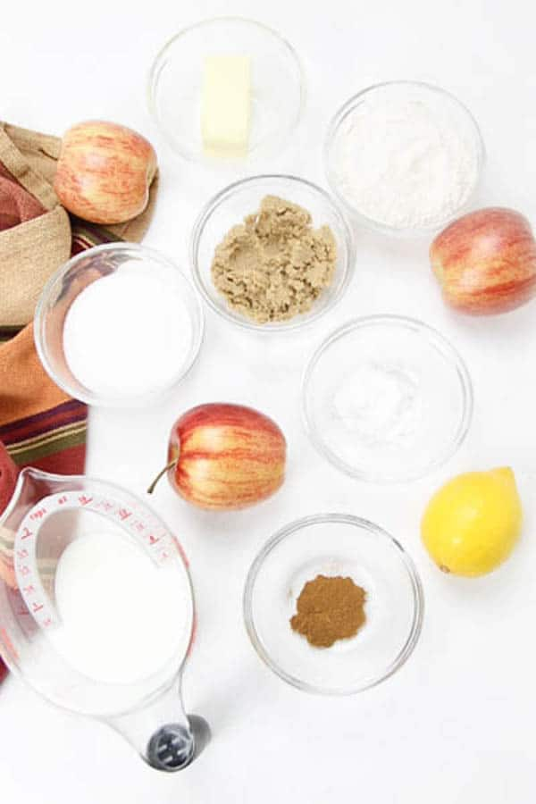 Easy Apple Cobbler with ingredients in glass bowls