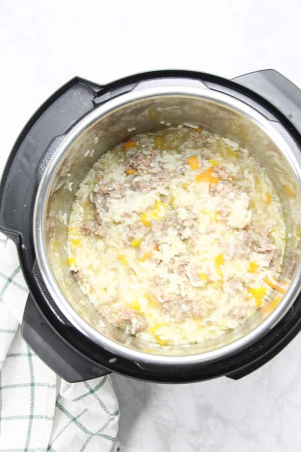 Instant Pot Sausage and Peppers Risotto in pot