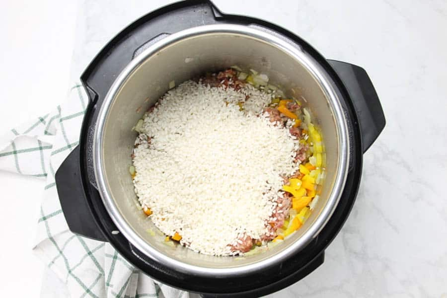 Instant Pot Sausage and Peppers Risotto with rice in pot