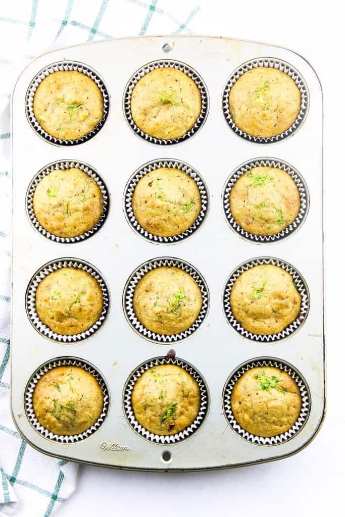 Zucchini Oatmeal Muffins in muffin pan