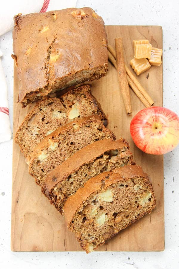 Caramel Apple Bread on cutting board