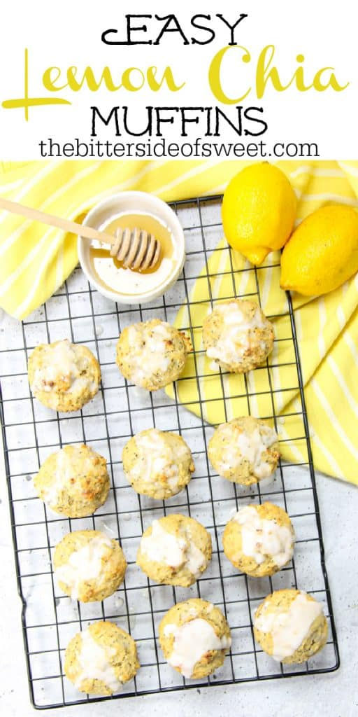 Easy Lemon Chia Muffins overheard picture with honey and lemons