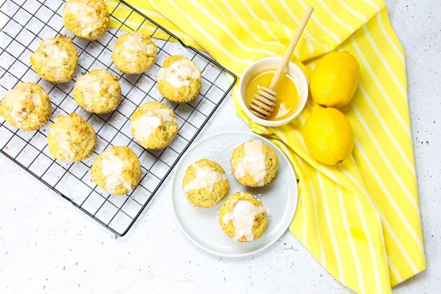 Lemon Chia Muffins on white plate