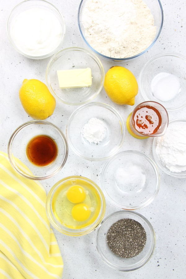 Lemon Chia Muffins Ingredients in glass bowls