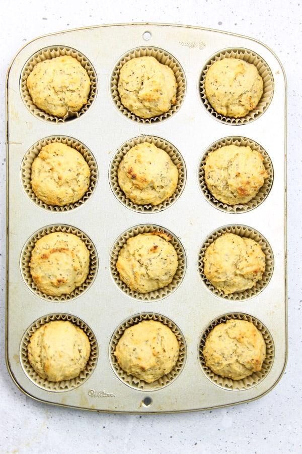 Lemon Chia Muffins in muffin tin