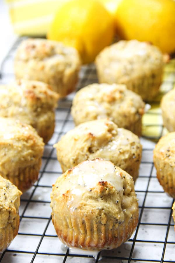 Lemon Chia Muffins with glaze on top