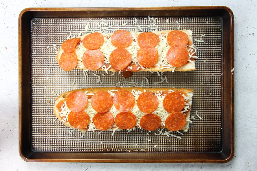Pepperoni French Bread Pizza with pepperoni