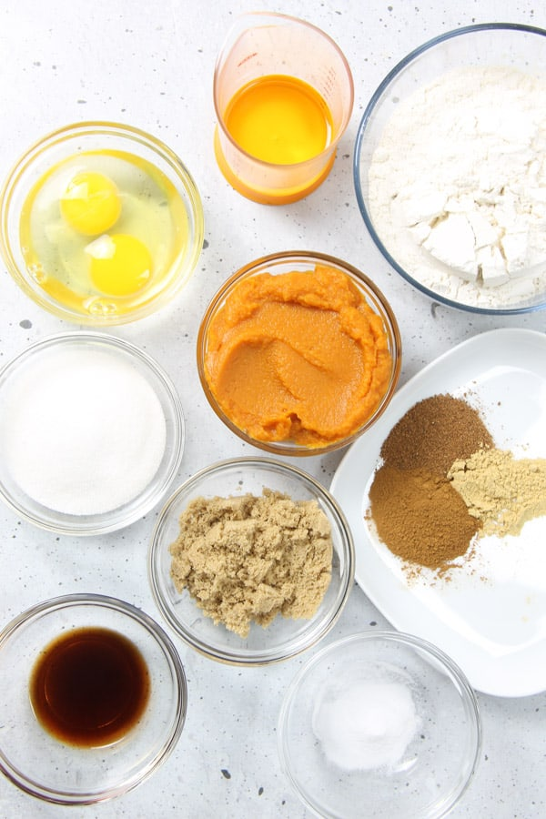 Pumpkin Bread ingredients in glass bowls