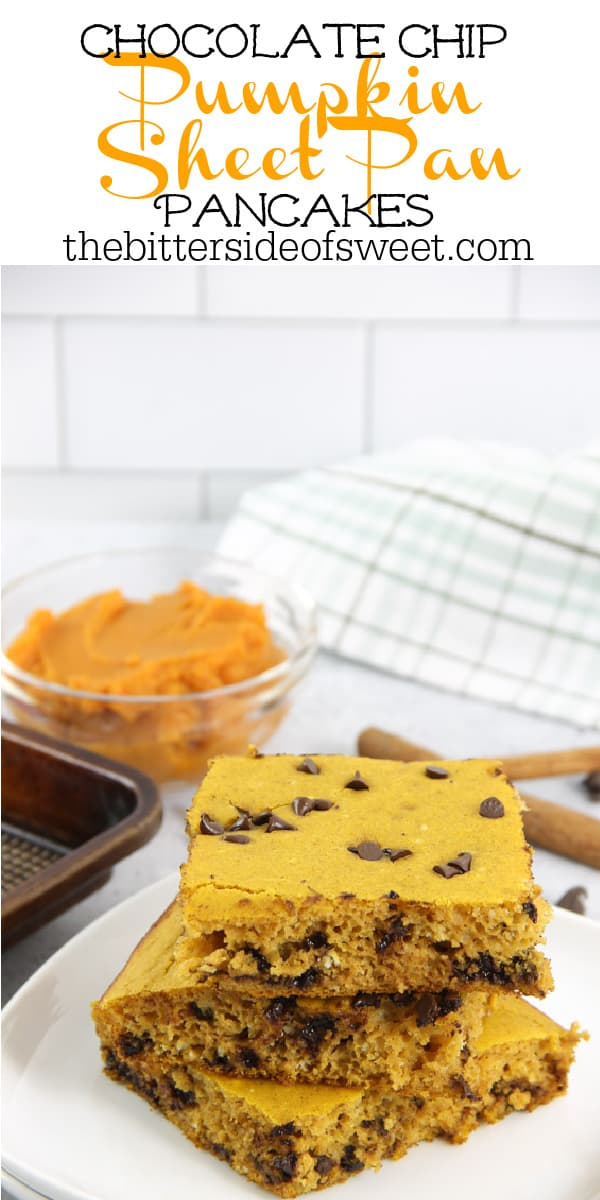 Chocolate Chip Pumpkin Sheet Pan Pancakes on white plate