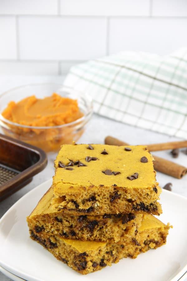 Chocolate Chip Pumpkin Sheet Pan Pancakes on white plate