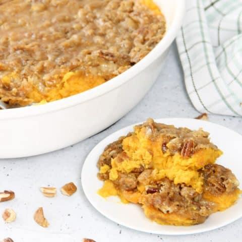 Easy Sweet Potato Casserole on white plate