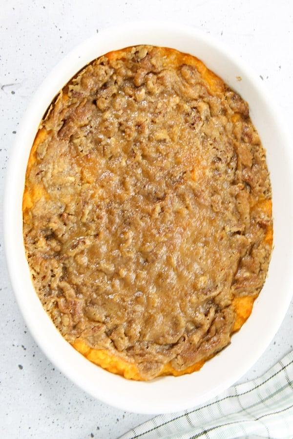 Easy Sweet Potato Casserole in white dish